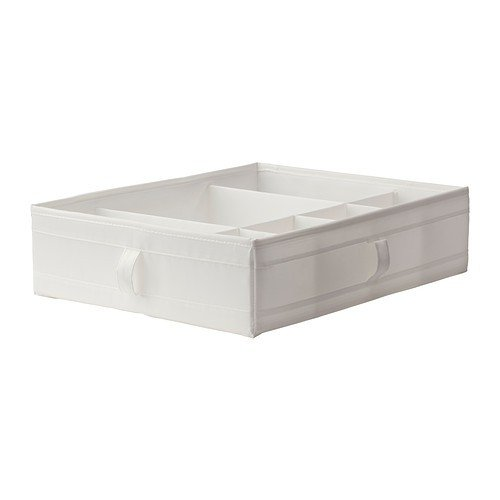 Ikea Box with Compartments/Chest of Drawers/Wardrobe Storage Organization Units, Wood, White, 77 x 18 x 3 cm