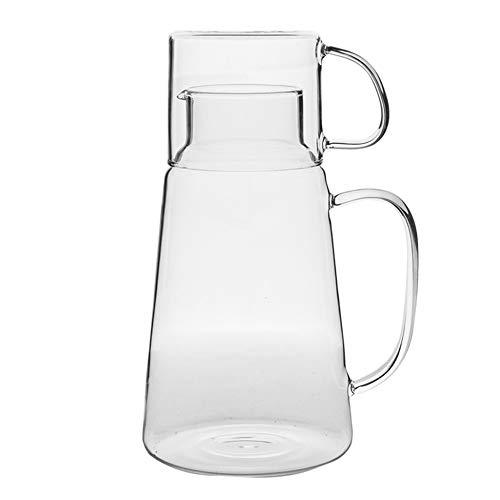 parentes Glas Wasserkocher Mit Wassertasse/Haushalt Große Kapazität Hochtemperaturglas Frühstück Milch Tasse Mit Krug/Kaltes Wasser/Getränke/Milch Lagerung Lange Tube Topf ()