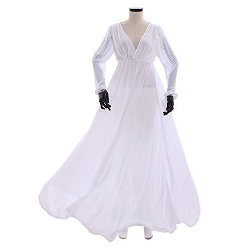 COUCOU Age Mittelalterliches Kleid Chemise Unterkleid Viktorianisches Kostüm Chiffon mit Langen Ärmeln