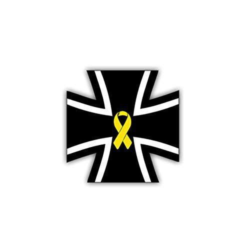 Aufkleber/Sticker Kreuz mit Gelber Schleife Bundeswehr Solidarität 7x7cm #A1019 -