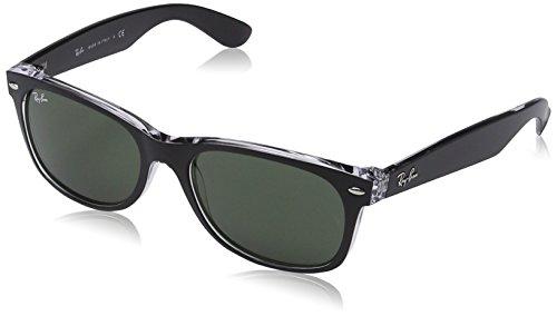 Ray Ban Unisex Sonnenbrille New Wayfarer, Gr. Large (Herstellergröße: 55), Schwarz (schwarz transparent 6052)