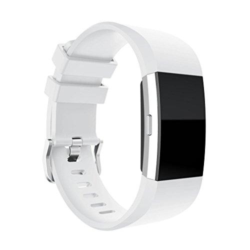 Preisvergleich Produktbild Sansee Art- und Weisesport-neues Silikon-Armband-Bügel-Band für Fitbit-Gebühr 2 (glatter Silikon-Bügel) (Weiß)