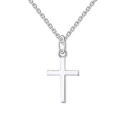 FJ Damen Winzig 925 Sterling Silber Kreuz Anhänger Halskette mit 18