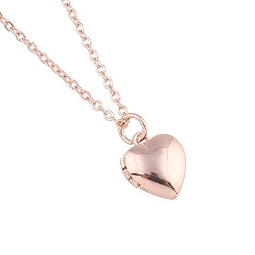 Pl Mini-anhänger (Styleziel Mini Damen Schmuckset Halskette Medallion Foto Medaillon Herz Anhänger zum öffnen Kugelkette Gold Rosegold pl 47cm I love you 2289)