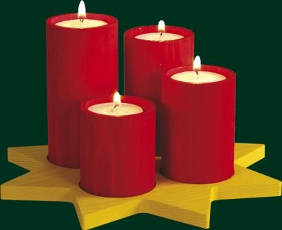 Corona de adviento Richard Glässer 4 vela pilares en una estrella con las velas de té