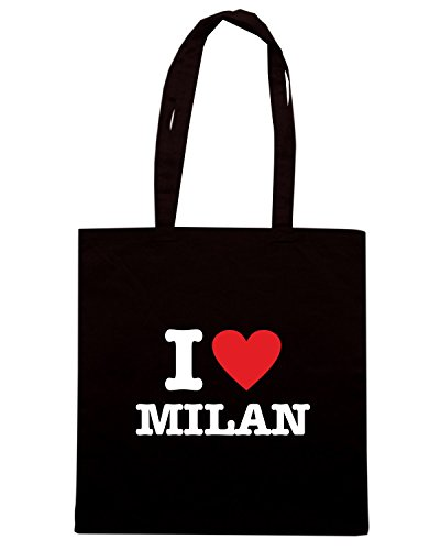 T-Shirtshock - Borsa Shopping T0010 I LOVE MILAN Nero