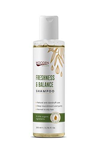 WOODENSPOON Natürliches Anti-Schuppen Shampoo mit starken Ölen gegen fettige Haare Freshness & Balance 200 ml - Soil Association Certificate und 75% zertifizierte Bio-Inhaltsstoffe