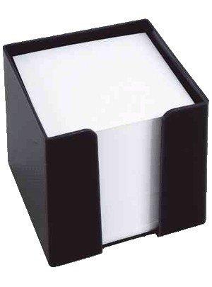 König & Ebhardt 860101090 Zettelbox (schwarze Knststoffbox, 9,5 x 9,5 x 9,5 cm, 700 Blatt) weiß