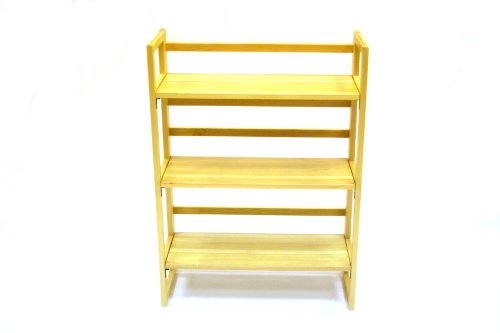 BE Furniture 3 Tier Stacking Wooden Folding Bookshelf, Book Case, Book Shelves bookshelves