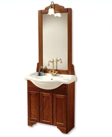 Mobile arredo portofino bagno arte povera cm 75 in noce massello lavabo in ceramica e specchio mobili