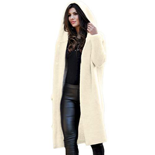Lucky Mall Women Long Sleeve Loose Long Sweater Cardigan, Hooded Outwear