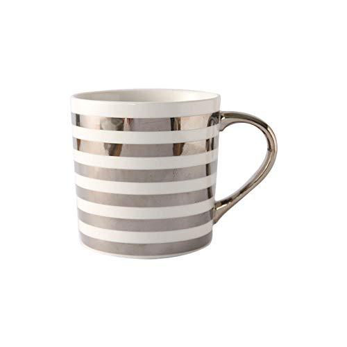 Kaffeetassen Kaffeetasse Kaffeebecher Keramiktasse Paare Tasse Milchglas Phnom Penh Griff Silber Querstreifen 350ML