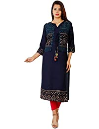 Marlin Women's Rayon 2 Piece Long Kurti with Jacket