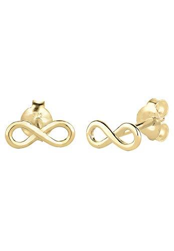 Elli Premium Damen-Ohrstecker Infinity Klassiker 375 Gelbgold - 0312380814