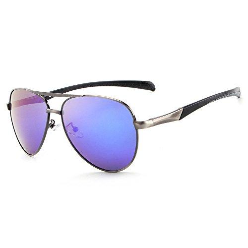 RFVBNM Männer polarisierte Sonnenbrille Mode große Rahmen Sonnenbrillen Reiten Brille im Freien UV-Beweis Mode Persönlichkeit Rahmen Sonnenbrille, Gun Box dunkelblaue Linse