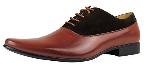 Herren Schuhe - elegante Schnürhalbschuhe - in Leder- und Samtoptik - in verschiedenen Farben (40, braun)