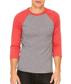 Bella+Canvas: Triblend 3/4 Sleeve Baseball T-Shirt 3200, Größe:S;Farbe:Grey/Light Red Triblend -