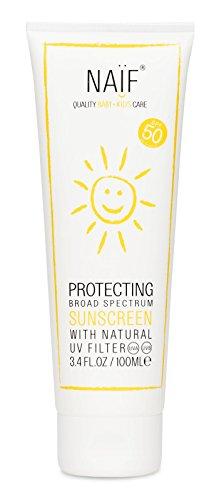 NAÏF Sonnencreme Lichtschutzfaktor 50 mit Jojoba Öl, UVA- und UVB-Strahlung, wasserfest für Kinder und Baby | 100ml