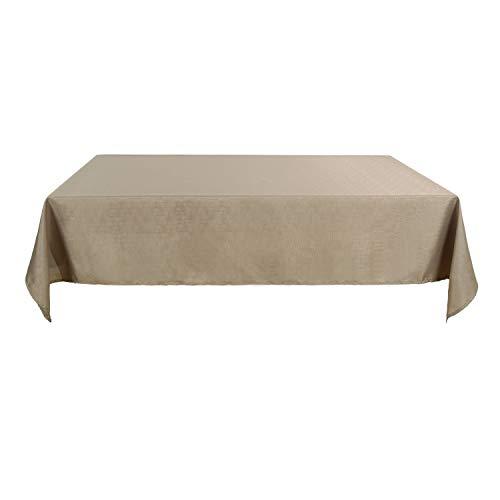 Deconovo Nappe Rectangulaire Imperméable Anti-Tâches Decoration Table Effet Lin 130x280cm Taupe
