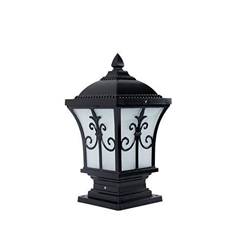 ZY * Traditionelle Schwarz & Bronze IP44 Outdoor Gartenlaterne Laterne Licht Luxus Colonial Outdoor Vintage Wasserdichte Säulenleuchten Landschaftsbeleuchtung Innenhof Villa Wand (Farbe: Schwarz-Höhe -