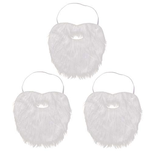 Amosfun 3 STÜCKE Weihnachtsmann Bart Gefälschte Schnurrbart Lustige Kostüm Weihnachten Halloween Maske Party Künstlicher Bart Gesichts Spiel Whisker Bart Party Supplies Freunde
