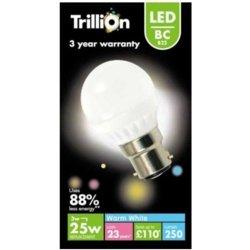 Trillion baïonnette LED Golf/Opal B22Ampoule–3/25W Ampoule de remplacement–250lumen (couleur blanc chaud)