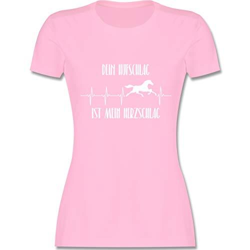 Pferde - Dein Hufschlag ist Mein Herzschlag - L - Rosa - L191 - Damen T-Shirt Rundhals