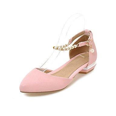 zhENfu Donna Sandali pompa di base PU Estate Abbigliamento Casual base cavo pompa-out tacco piatto arrossendo Rosa Bianco Nero Flat Blushing Pink