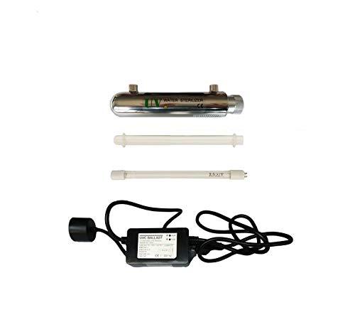 Realgoal 6W UV Wasser Desinfektion System Edelstahl 304 UV sterilisiert, 0.5GPM Ultra Violett Light Water Filter Luftreiniger, Inlet/Steckdose weiblich 1/4