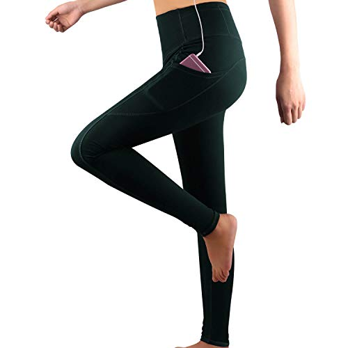 (GRAT.UNIC Damen Hohe Taille Sport Leggings,Damen Sport Leggings,Yoga Sporthose mit Seitentaschen, Damen Leggings,Classics Schwarz Stretch Workout Fitness Jogginghose (Grün(Lange leggings), M))