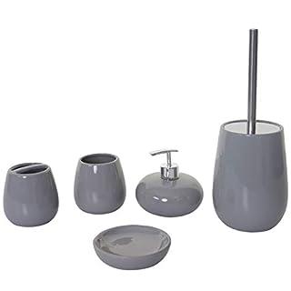 Mendler 5-teiliges Badset HWC-C72, WC-Garnitur Badezimmerset Badaccessoires, Keramik ~ grau