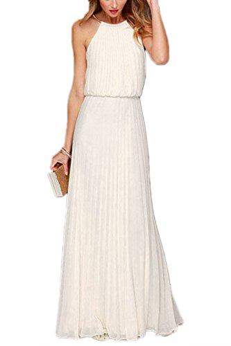 Frauen Halter Ärmellose Maxi Gefalteten Partei Strand Dress White