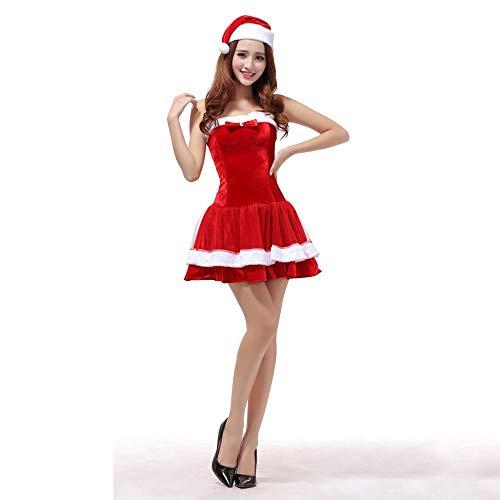 Ambiguity Weihnachtskostüme,Weihnachtskostüm Adult Sexy BH Tasche hip Rock Christmas Damenkleidung