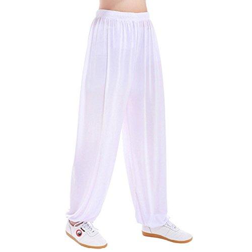 MESHIKAIER Super weiche Herren Haremshose Freizeithose Pluderhose Pumphose Yoga Hose Sport Hose für 4 Jahreszeiten (Size XL, Weiß)