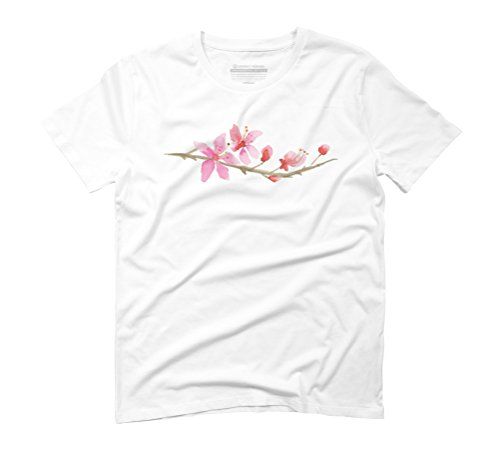 Cherry Blossom Water Color Painting Men's Graphic T-Shirt - Design By Humans White