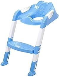 Jiobapiongxin Asiento plegable para niños con asiento ajustable y escalera Escalera para inodoro PP