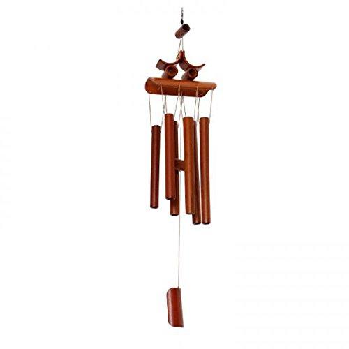 Tubos de Bambú Manual Oriental Colgante Carillón de Campana de Viento Feng Shui Ornamento