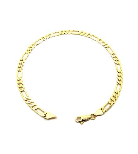 Chaîne de cheville de ton or pour femme de 25,4 cm - Chaîne variée Chaîne Figaro l.4,8 mm, Bijou de ton or