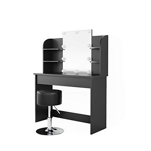 Vicco Schminktisch Charlotte 142 x 108 cm Schwarz - Frisiertisch Kommode Spiegel mit LED-Beleuchtung und Hocker +++ Schminkkommode mit Schubfach- und Regalsystem +++ (Schwarz)
