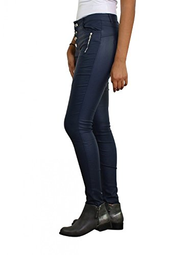 Damen Kunstlederhose Röhrenjeans Leder-Optik Hüfthose Damenjeans Hüftjeans Skinny ( Röhre Nr: 408 ), Grösse:36, Farbe:Dunkelblau (Petite Gefüttert Jeans)