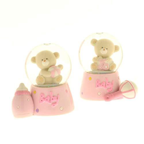 Jonny palla di neve orso orsetto rosa da 6 cm bomboniera battesimo bambi