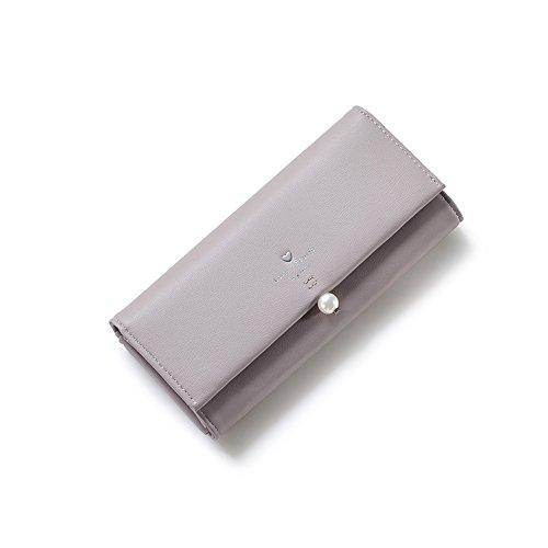 PU Piega Lunga Pelle moda donna Portafoglio borsa Ecopelle Wallet raccoglitore Pocket Portamonete Grigio