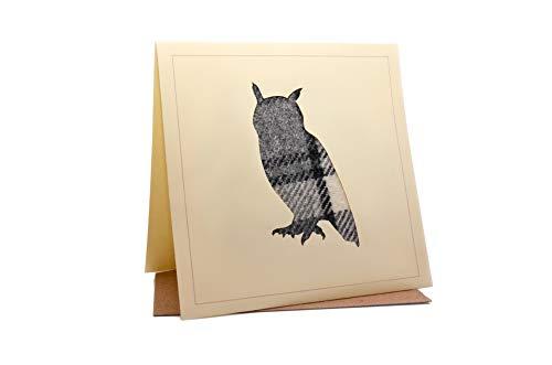 Lambacraft Geburtstagskarte mit Eulen-Design, Tweed, Tartan, Wolle, Stoff, Silhouette, blanko, 1 Stück -