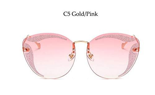 MoHHoM Sonnenbrille Verschönert Glitter Cat Eye Sonnenbrille Luxus Marke Big Randlose Sunglasse Gold Rosa