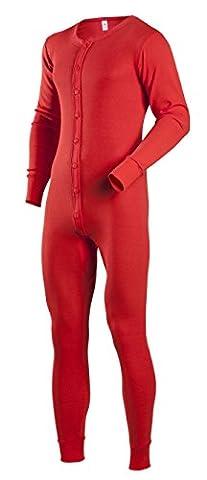 Indera Men's Cotton 1 x 1 Rib Union Suit, Red,