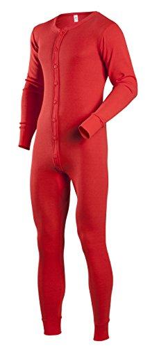 Indera Herren Baumwolle 1x 1Rib Union Suit XL rot - Union Lange Unterwäsche