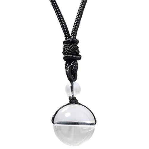 mookaitedecor Glücklicher Segen Chakra Perlen poliert Stein Halsketten mit Anhänger für Unisex, heilende Kristalle Stein Anhänger mit Kette verstellbar (Weißer-stein-schmuck)