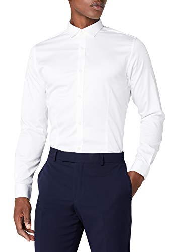 JACK & JONES PREMIUM Herren Super Slim Fit Business Hemd Jjprparma Shirt L/s Noos, Weiß (White), Large