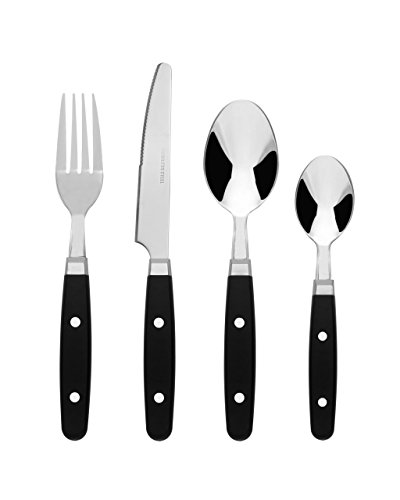 Bon Henley 16-Piece Stainless Steel Cutlery Set - Black