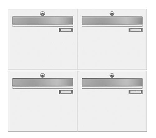 frabox Briefkastenanlage LUIS RAL 9016 verkehrsweiß, mit 4 Briefkästen